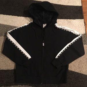 PINK hoodie w/faux fur hood - Size Small